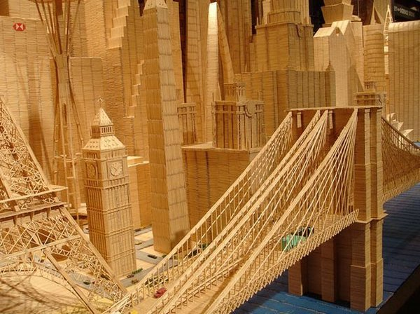toothpicks 11 A Miniature City Made out of Millions of Toothpicks