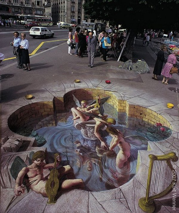 sidewalk artist 01 Extraordinary 3D Sidewalk Art Photos