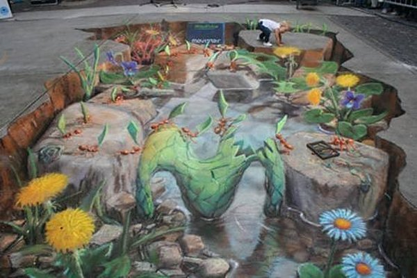 sidewalk artist 05 Extraordinary 3D Sidewalk Art Photos