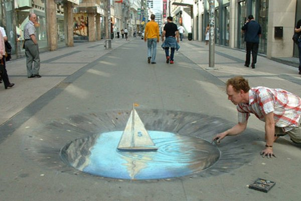 sidewalk artist 12 Extraordinary 3D Sidewalk Art Photos