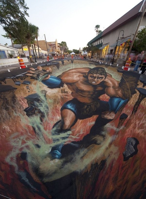 sidewalk artist 17 Extraordinary 3D Sidewalk Art Photos