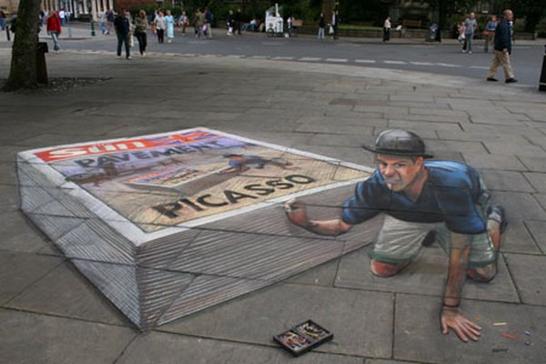 sidewalk artist 34 Extraordinary 3D Sidewalk Art Photos