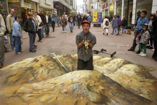 sidewalk artist 35 Extraordinary 3D Sidewalk Art Photos