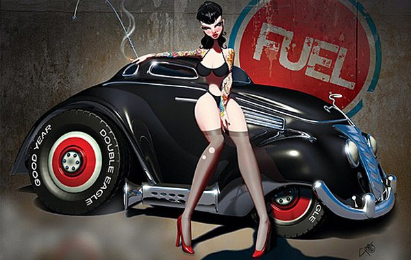 pin up illustrations 05 Provocative But Creepy Pin Up Girls Illustrations